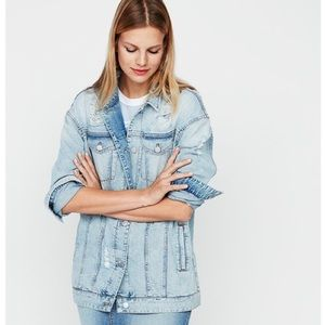 Express Distressed Denim Boyfriend Jacket